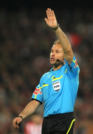 Referee Mateu Lahoz during the Spanish league match against Athletic Club Bilbao at the Camp Nou stadium on March 31, 2012 in Barcelona, Spain