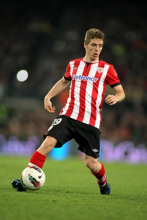 winger: Iker Muniain of Athletic Bilbao in action during the Spanish league match against FC Barcelona at the Camp Nou stadium on March 31, 2012 in Barcelona, Spain Editorial