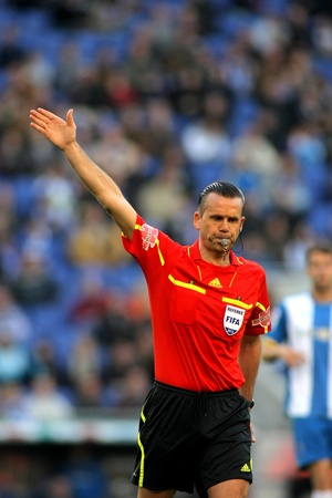 Referee Muniz Fernandez during a Spanish League match between RCD Espanyol vs Real Sociedad at the Estadi Cornella on April 7, 2012 in Barcelona, Spain Stock Photo - 13266185