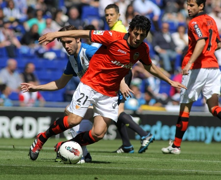 Dani Parejo of Valencia CF in action during a Spanish League match against RCD Espanyol at the Estadi Cornella on April 15, 2012 in Barcelona, Spain