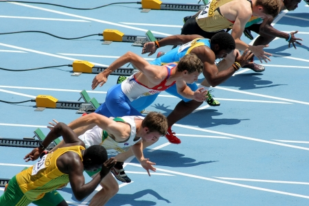 Competitors on start of 110m men hurdles during the 20th World Junior Athletics Championships at the Olympic Stadium on July 10, 2012 in Barcelona, Spain
