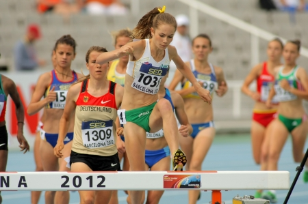 steeplechase: Tessa Potezny of Australia during 3000m steeplechase event of the 20th World Junior Athletics Championships at the Olympic Stadium on July 10, 2012 in Barcelona, Spain