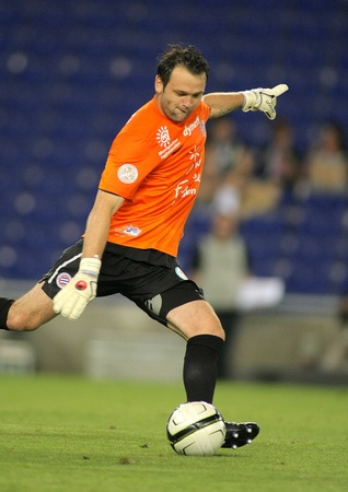 Geoffrey Jourdren of Montpellier HSC in action during a friendly match against RCD Espanyol at the Estadi Cornella on August 3, 2012 in Barcelona, Spain
