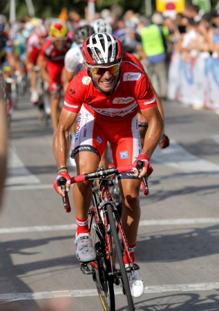 course cycliste: Katusha Team cycliste espagnol Joaquim Rodriguez monte Purito lider lors de la Vuelta Ciclista a Espa�a course cycliste � Barcelone le 26 Ao�t, 2012 Editeur
