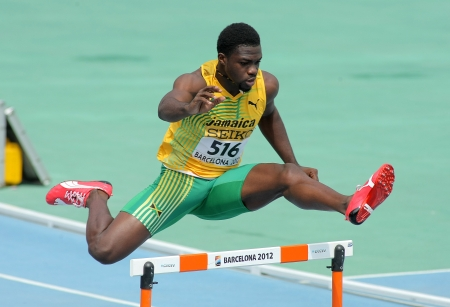 fast foot: Jarvan Gallimore of Jamaica during 400m hurdles event of the 20th World Junior Athletics Championships at the Olympic Stadium on July 11, 2012 in Barcelona, Spain