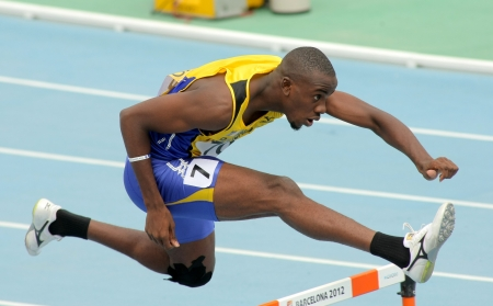 20th: Tramaine Maloney of Barbados during 400m hurdles event of the 20th World Junior Athletics Championships at the Olympic Stadium on July 11, 2012 in Barcelona, Spain