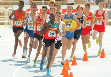 Competitors of 3000m steeplechase event during the 20th World Junior Athletics Championships at the Olympic Stadium on July 13, 2012 in Barcelona, Spain