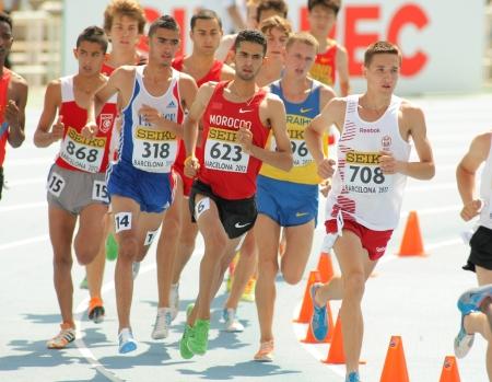 finalistin: Konkurrenten der 3000m Hindernislauf Ereignis w�hrend der 20. World Junior Athletics Championships im Olympiastadion am 13. Juli 2012 in Barcelona, ??Spanien Editorial