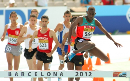 steeplechase: Competitors of 3000m steeplechase event during the 20th World Junior Athletics Championships at the Olympic Stadium on July 13, 2012 in Barcelona, Spain