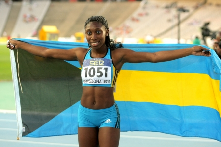 Anthonique Strachan of Bahamas celebrates gold of 200m event the 20th World Junior Athletics Championships at the Olympic Stadium on July 13, 2012 in Barcelona, Spain