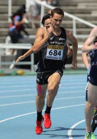 Brad Mathas of New Zealand during 800m event the 20th World Junior Athletics Championships at the Olympic Stadium on July 13, 2012 in Barcelona, Spain