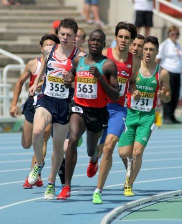 finalistin: Edwin Kiplagat Melly von Kenia in 800m Event der 20. World Junior Athletics Championships im Olympiastadion am 13. Juli 2012 in Barcelona, ??Spanien Editorial
