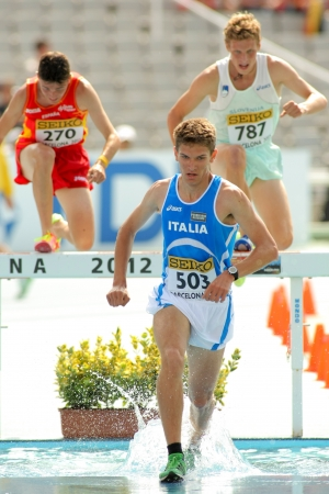 Italo Quazzola of Italy during 3000m steeplechase event the 20th World Junior Athletics Championships at the Olympic Stadium on July 13, 2012 in Barcelona, Spain