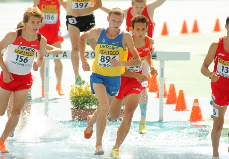 Ivan Savka of Ukraine during 3000m steeplechase event the 20th World Junior Athletics Championships at the Olympic Stadium on July 13, 2012 in Barcelona, Spain