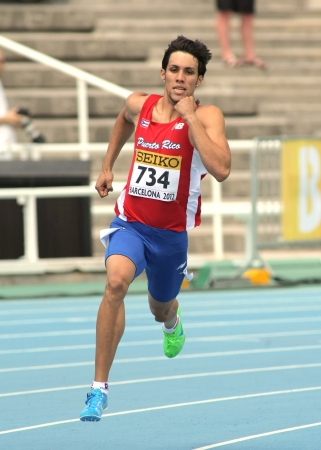 wesley: Wesley Vazquez of Puerto Rico during 800m event the 20th World Junior Athletics Championships at the Olympic Stadium on July 13, 2012 in Barcelona, Spain Editorial