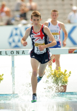 zak: Zak Seddon of Great Britain during 3000m steeplechase event the 20th World Junior Athletics Championships at the Olympic Stadium on July 13, 2012 in Barcelona, Spain Editorial