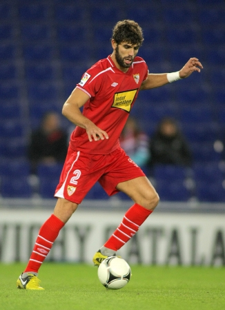 Federico Fazio of Sevilla during a King Cup match between Espanyol and Osasuna  at the Estadi Cornella on November 28, 2012 in Barcelona, Spain