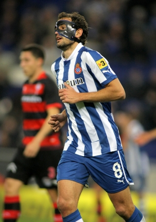 Christian Stuani of RCD Espanyol during a Spanish League match between Espanyol and Celta at the Estadi Cornella on January 12, 2012 in Barcelona, Spain