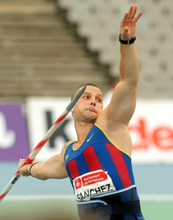 javelin throw: Jordi Sanchez of FC Barcelona during Javelin Throw Event of Barcelona Athletics meeting at the Olympic Stadium on July 22, 2011 in Barcelona, Spain