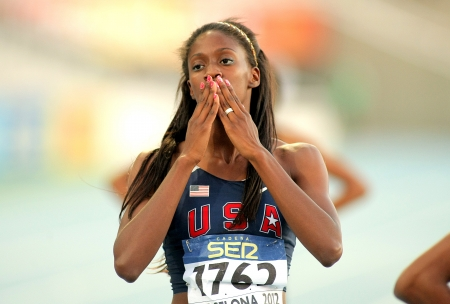 spencer: Ashley Spencer of USA celebrating gold in relays event of the 20th World Junior Athletics Championships at the Olympic Stadium on July 13, 2012 in Barcelona, Spain Editorial