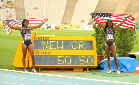 spencer: Ashley Spencer & Erika Rucker of USA celebrating his medals with the counter  during the 20th World Junior Athletics Championships at the Olympic Stadium on July 13, 2012 in Barcelona, Spain Editorial