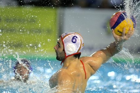 marc: Marc Minguell of Spain in action during a World League match against Serbia in Barceloneta swimming pool, March 27, 2013 in Barcelona, Spain