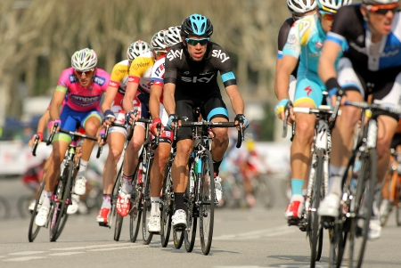 Rigoberto Uran(C) of Sky Procycling rides with the pack during the Tour of Catalonia cycling race through the streets of Monjuich mountain in Barcelona on March 24, 2013