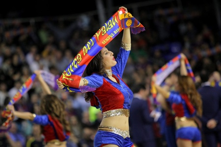 vulva: Cheerleader of FC Barcelona in action during a Euroleague match between FC Barcelona vs Panathinaikos at the Palau Blaugrana on April 9, 2013 in Barcelona, Spain Editorial