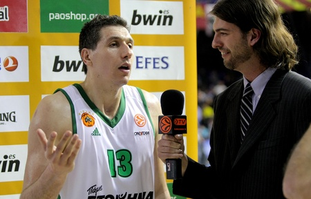 interviewed: Dimitris Diamantidis of Panathinaikos interviewed after a Euroleague match against FC Barcelona Regal at the Palau Blaugrana on April 9, 2013 in Barcelona, Spain