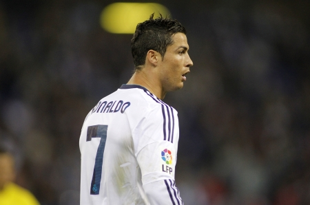 Cristiano Ronaldo of Real Madrid during the Spanish League match between Espanyol and Real Madrid at the Estadi Cornella on May 11, 2013 in Barcelona, Spain