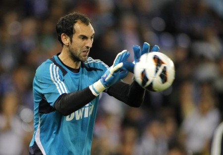 Diego Lopez of Real Madrid before the Spanish League match between Espanyol and Real Madrid at the Estadi Cornella on May 11, 2013 in Barcelona, Spain