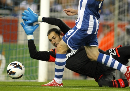 Diego Lopez of Real Madrid during the Spanish League match between Espanyol and Real Madrid at the Estadi Cornella on May 11, 2013 in Barcelona, Spain