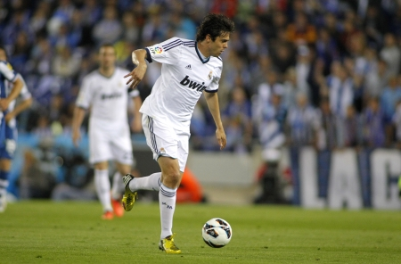 Kaka of Real Madrid during the Spanish League match between Espanyol and Real Madrid at the Estadi Cornella on May 11, 2013 in Barcelona, Spain