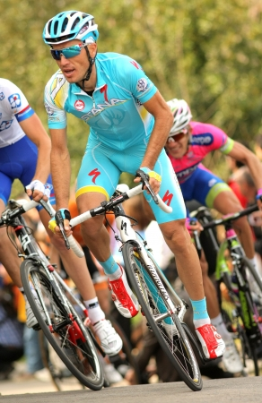 rudy: Alexsandr Dyachenko of Astana rides during the Tour of Catalonia cycling race through the streets of Monjuich mountain in Barcelona on March 24, 2013 Editorial