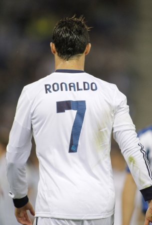 Cristiano Ronaldo of Real Madrid back during the Spanish League match between Espanyol and Real Madrid at the Estadi Cornella on May 11, 2013 in Barcelona, Spain