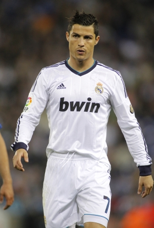 winger: Cristiano Ronaldo of Real Madrid during the Spanish League match between Espanyol and Real Madrid at the Estadi Cornella on May 11, 2013 in Barcelona, Spain Editorial