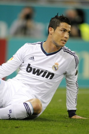 Cristiano Ronaldo of Real Madrid during the Spanish League match between Espanyol and Real Madrid at the Estadi Cornella on May 11, 2013 in Barcelona, Spain Editorial
