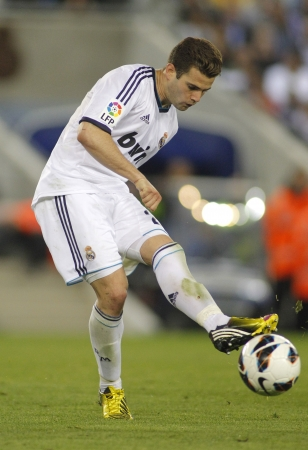 ignacio: Nacho Fernandez of Real Madrid during the Spanish League match between Espanyol and Real Madrid at the Estadi Cornella on May 11, 2013 in Barcelona, Spain