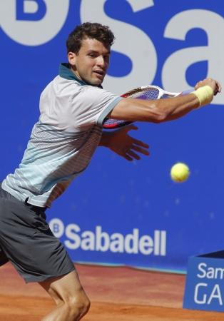 conde: Bulgarian tennis player Grigor Dimitrov in action during a match of Barcelona tennis tournament Conde de Godo on April 24, 2013 in Barcelona