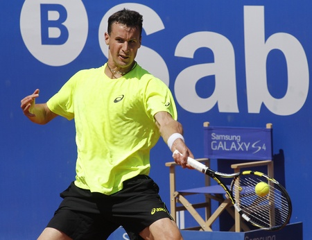 right handed: French tennis player Kenny de Schepper in action during a match of Barcelona tennis tournament Conde de Godo on April 23, 2013 in Barcelona