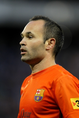 iniesta: Andres Iniesta of FC Barcelona during the Spanish League match between Espanyol and FC Barcelona at the Estadi Cornella on May 26, 2013 in Barcelona, Spain
