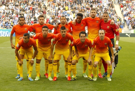 iniesta: FC Barcelona lineup before the Spanish League match between Espanyol and FC Barcelona at the Estadi Cornella on May 26, 2013 in Barcelona, Spain Editorial