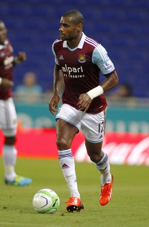 premier league: Ricardo Vaz Te of West Ham United in action during a friendly match against RCD Espanyol at the Estadi Cornella on September 5, 2013 in Barcelona, Spain Editorial
