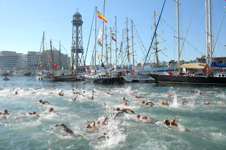 Swimmers on the open waters event Crossing Travessia Barcelona Port on September 22, 2013 in Barcelona, Spain