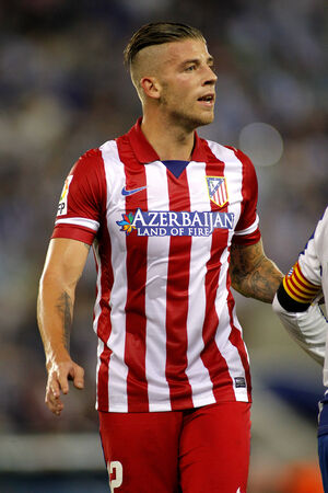 Toby Alderweireld of Atletico Madrid during a Spanish League match againts RCD Espanyol at the Estadi Cornella on October 19, 2013 in Barcelona, Spain