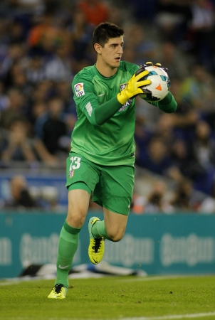 Thibaut Courtois of Atletico Madrid during a Spanish League match againts RCD Espanyol at the Estadi Cornella on October 19, 2013 in Barcelona, Spain Editorial