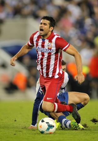 Diego Costa of Atletico Madrid during a Spanish League match againts RCD Espanyol at the Estadi Cornella on October 19, 2013 in Barcelona, Spain