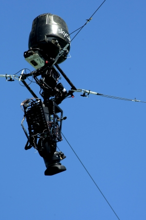 television broadcasting: Remote controlled camera skycam, taking zenith angle during events of the 20th European Athletics Championships at the Olympic Stadium on July 27, 2010 in Barcelona, Spain