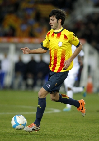 marc: Catalan player Marc Valiente of FC Barcelona in action during the friendly match between Catalonia and Cape Verde at Olympic Stadium on December 30, 2013 in Barcelona, Spain