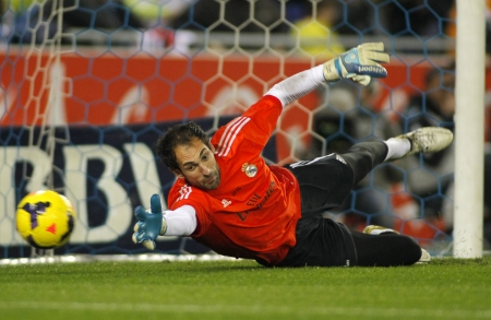 Diego Lopez of Real Madrid during the Spanish League match between Espanyol and Real Madrid at the Estadi Cornella on January 12, 2014 in Barcelona, Spain